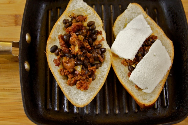 Breakfast Torta: Chorizo, Egg, Black Bean and Cheese Sandwich