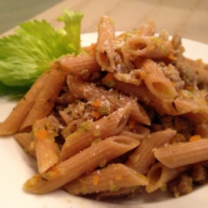 I use whole grain penne rigate pasta